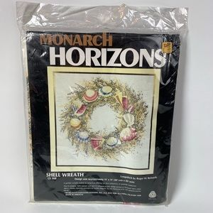 Vintage Counted Cross Stitch Shell Wreath Kit